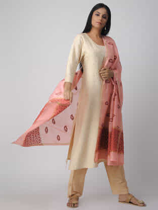 Pink-Red Chikankari Chanderi Dupatta with Mukaish and Zari Border