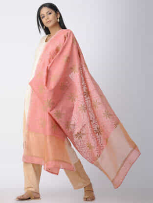 Pink-Green Chikankari Chanderi Dupatta with Mukaish and Zari