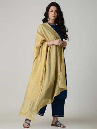Beige Chikankari Chanderi Dupatta with Mukaish and Zari