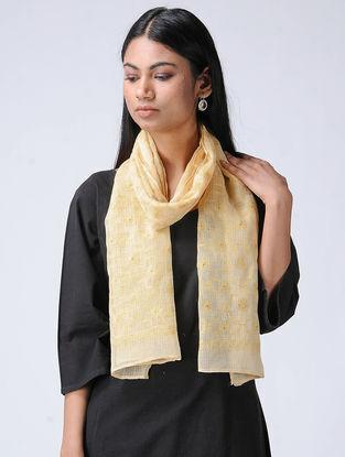 Ivory-Yellow Chikankari Kota Silk Stole with Mukaish