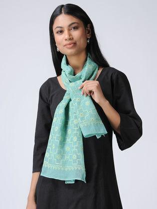 Turquoise-Ivory Chikankari Kota Silk Stole with Mukaish