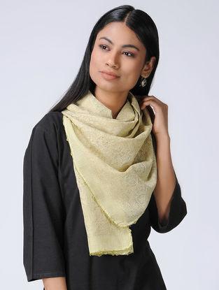 Ivory-Green Chikankari Kota Silk Stole with Mukaish