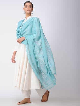 Blue Chikankari Kota Silk Dupatta with Mukaish