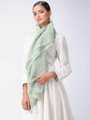 Green Chikankari Kota Silk Stole