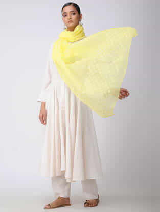 Yellow-Ivory Chikankari Kota Silk Dupatta with Mukaish