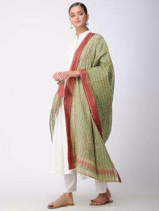 Green-Red Chikankari Kota Silk Dupatta with Mukaish