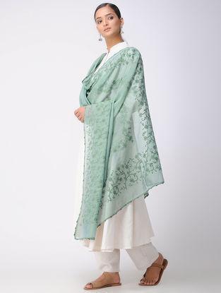 Green Chikankari Kota Silk Dupatta with Mukaish