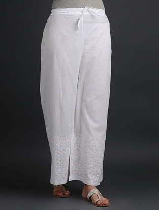 White Tie-up Elasticated Waist Chikankari Cotton Palazzos