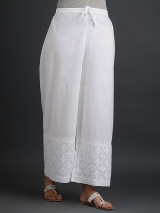 White Tie-up Elasticated Waist Chikankari Cutwork Cotton Palazzos with Mukaish