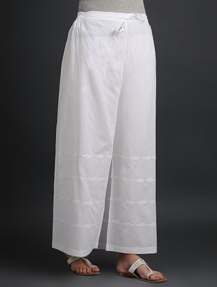 White Tie-up Elasticated Waist Cotton Palazzos with Applique