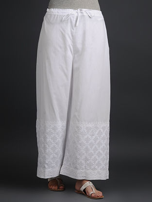 White Tie-up Elasticated Waist Chikankari Cutwork Cotton Palazzos