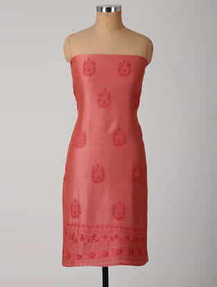 Pink Chikankari Chanderi Kurta Fabric with Mukaish
