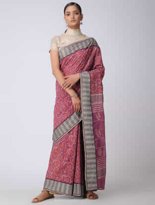 Purple-Grey Chikankari Kota Silk Saree with Mukaish