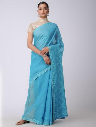 Blue Chikankari Kota Silk Saree