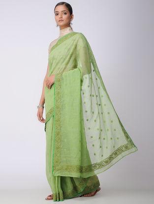 Green Chikankari Kota Silk Saree with Mukaish