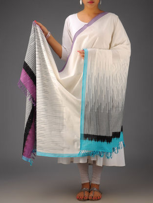 Ivory-Blue Gradation Lines Ikat Cotton Dupatta