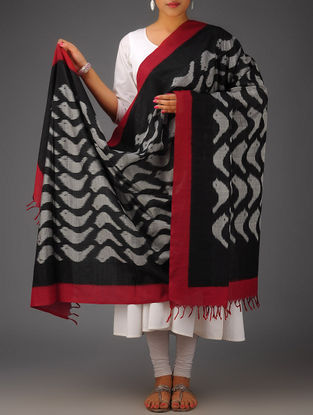 Black-Grey-Maroon Bird Design Ikat Cotton Dupatta