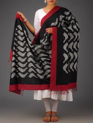 Black-Grey-Maroon Bird Design Ikat Cotton Dupatta