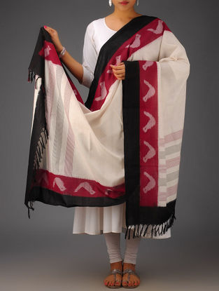 Ivory-Red-Black Bird Border Design Ikat Cotton Dupatta