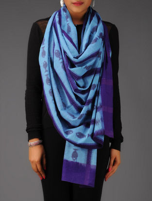 Blue Fish Stripes Ikat Cotton Stole