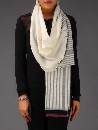 Ivory-Grey-Black-Maroon Ikat Cotton Stole