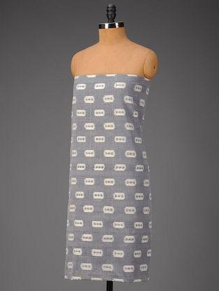 Grey-Ivory Blade Motifs Ikat Cotton Fabric