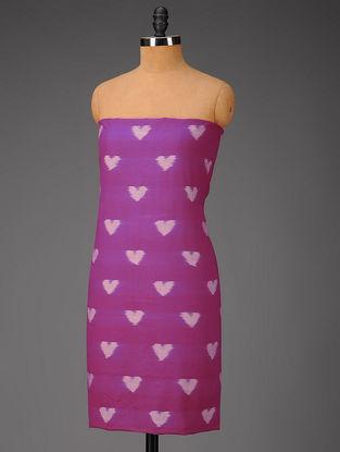 Fuschia-Ivory Heart Motifs Ikat Cotton Fabric