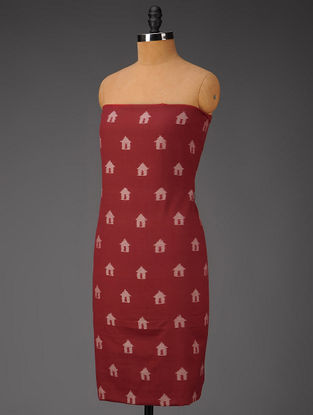 Maroon-Ivory Hut Motifs Ikat Cotton Fabric