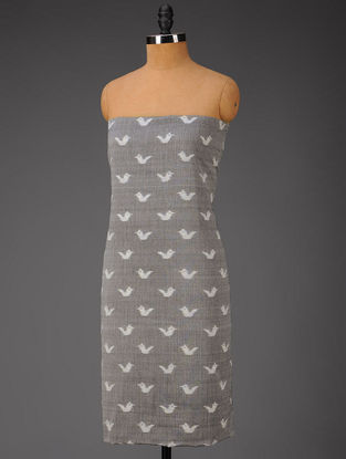 Grey-Ivory Bird Motifs Ikat Cotton Fabric