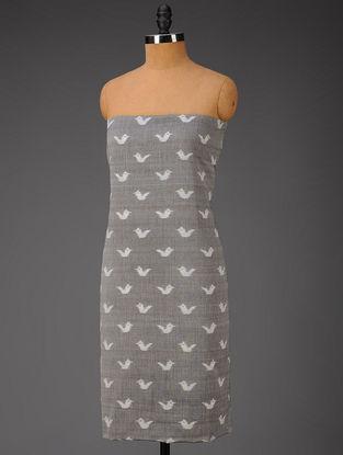 Grey-Ivory Bird Motifs Ikat Cotton Fabric