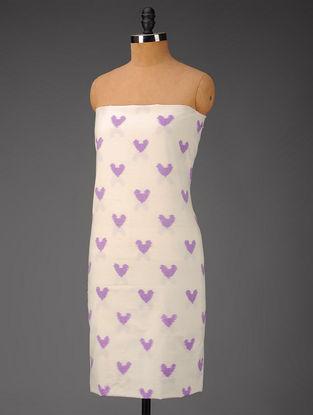 Ivory-Pink Heart Motifs Ikat Cotton Fabric