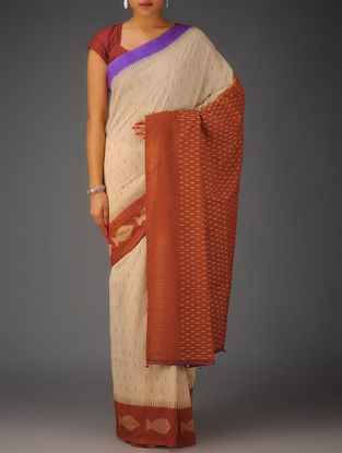 Beige-Rust-Purple Ikat Cotton Saree