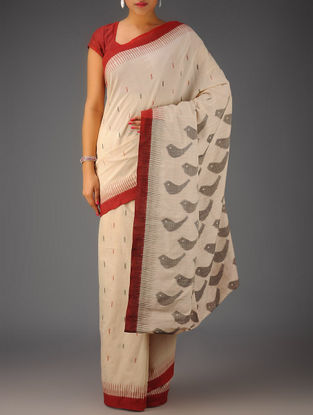 Ivory-Maroon Ikat Cotton Saree
