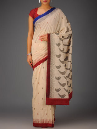 Ivory-Red-Blue Ikat Cotton Saree