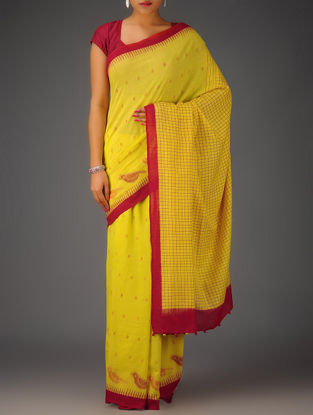 Yellow-Red Checks Ikat Cotton Saree