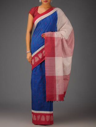 Blue-Red-Pink-White Ikat Cotton Saree