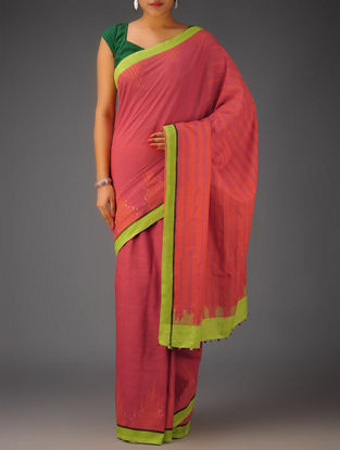 Red-Neon Green Ikat Cotton Saree