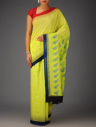 Lime-Multicolor Bird Design Ikat Cotton Saree