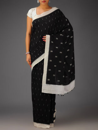 Black-White Ikat Cotton Saree