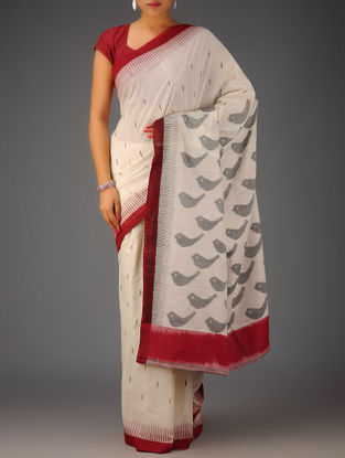 Ivory-Grey-Pink Stripes Ikat Cotton Saree