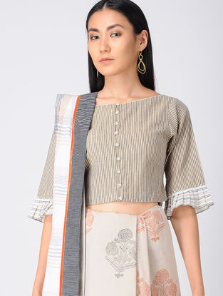 Beige Embroidered Khadi Cotton Blouse