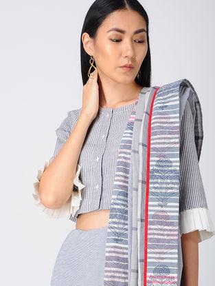 Blue Embroidered Khadi Cotton Blouse