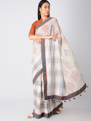 Beige-Rust Block-printed Khadi Cotton Saree and Blouse with Embroidery
