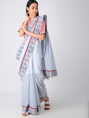 Grey-Peach Block-printed Khadi Cotton Saree and Blouse with Embroidery