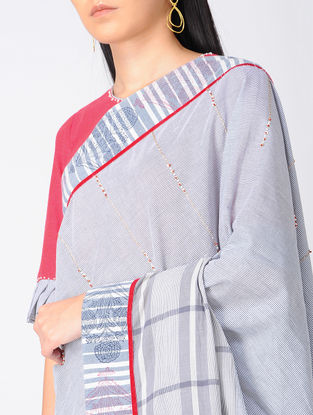 Grey-Red Block-printed Khadi Cotton Saree and Blouse with Embroidery
