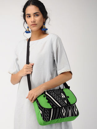 Green-Black Jacquard Messenger Bag with Tassel