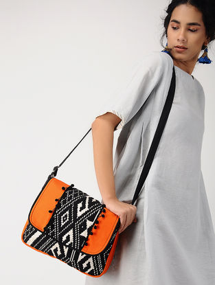 Orange-Black Jacquard Messenger Bag with Tassel