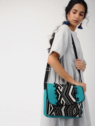 Blue-Black Jacquard Messenger Bag with Tassel
