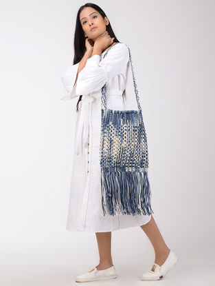 Blue-White Macrame Cotton Tie and Dye Sling Bag with Fringes