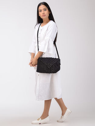 Black Macrame Cotton Sling Bag